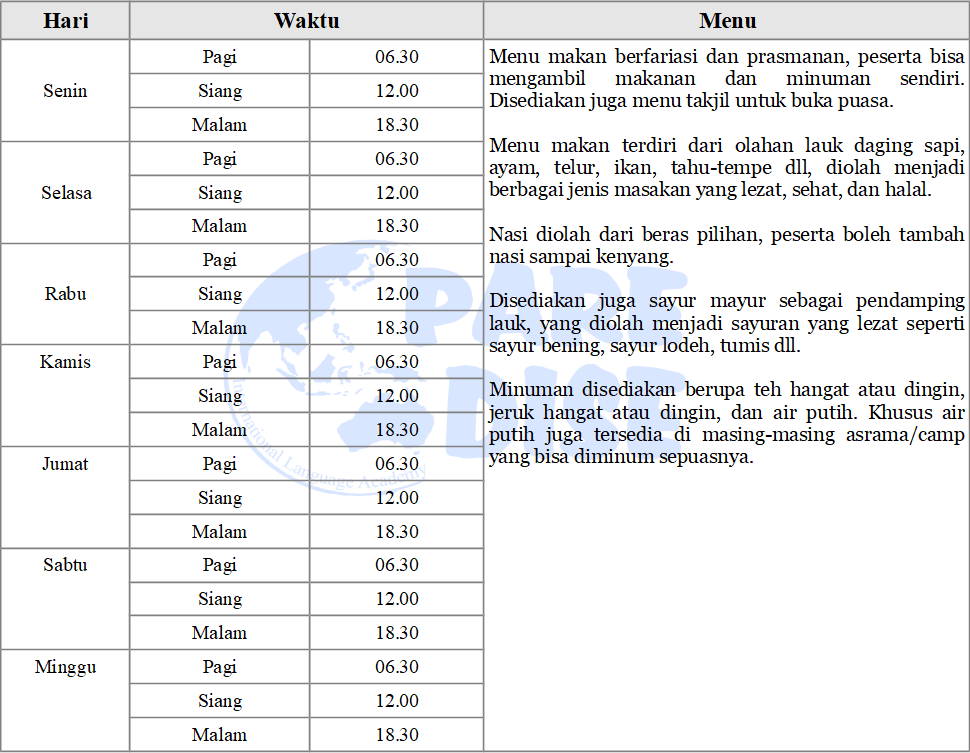 Tabel Menu Makan Paket Holiday 19 Desember