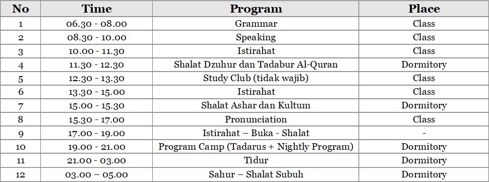 Jadwal Pare-Dise In Ramadan